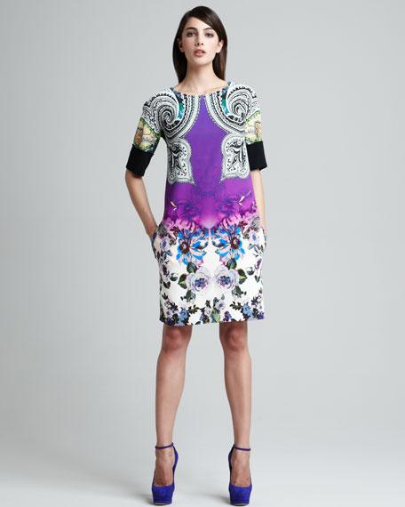 Paisley & Floral Printed Shift Dress