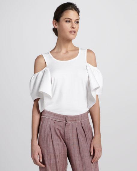 Cold-Shoulder Cotton Shirt