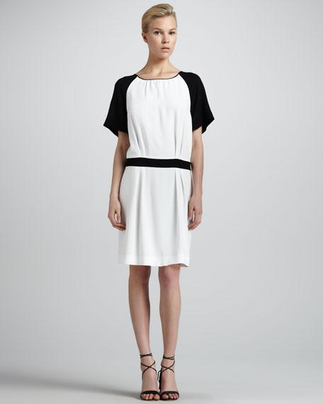 Contrast-Raglan-Sleeve Drop-Waist Dress, Milk/Black