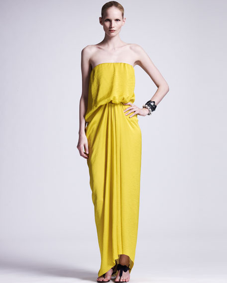 Strapless Techno Satin Gown