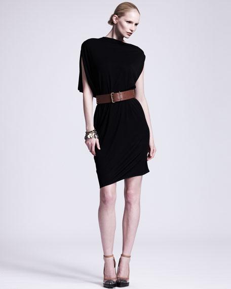Asymmetric Draped Jersey Dress