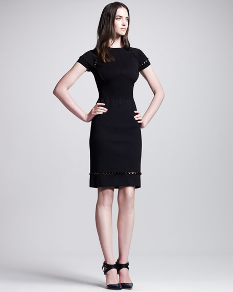 Open-Beaded Short-Sleeve Sheath Dress, Black