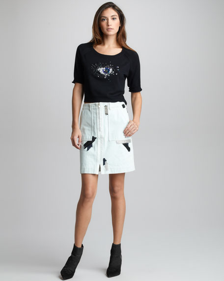 Chain/Patchwork-Trim Denim Skirt