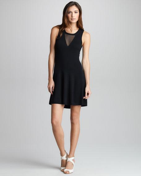 Sheer-Inset Merino Dress