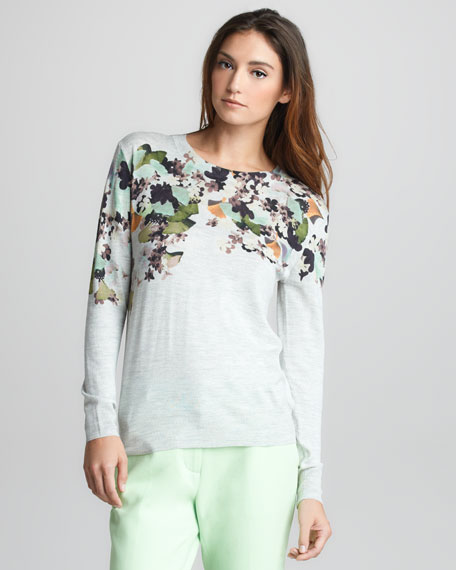 Floral-Print Wool Pullover Sweater