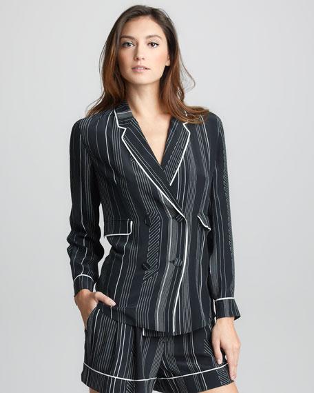 Pinstripe Silk Double-Breasted Pajama Jacket