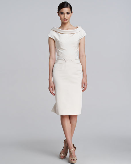 Silk Ruffle-Back Dress