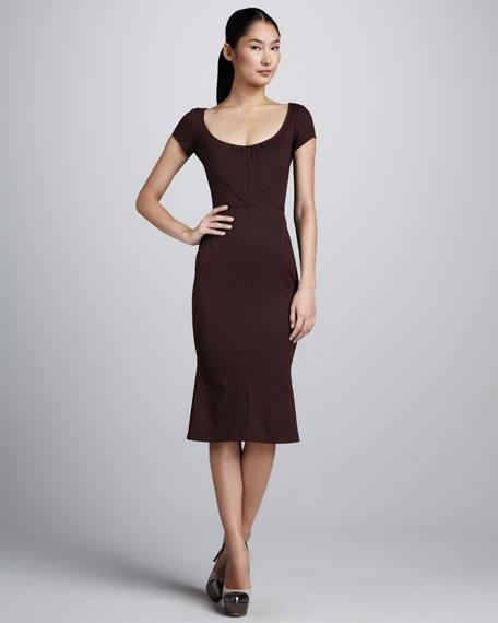 Bonded Jersey Dress with Flounced Hem