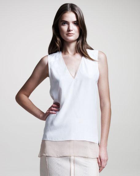 Layered V-Neck Silk Blouse