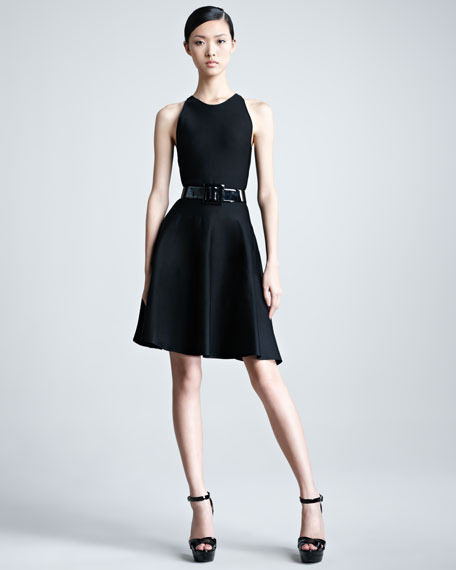 Sleeveless Knit Flounce Dress, Black