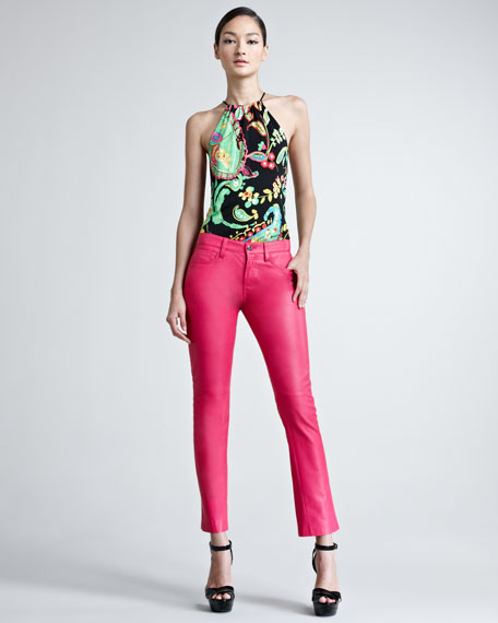 Cropped Lambskin Leather Jeans, Hot Pink