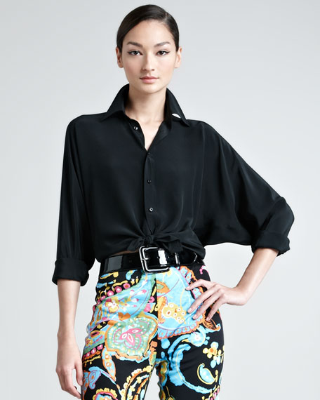 Pierson Dolman-Sleeve Button-Down Blouse, Black