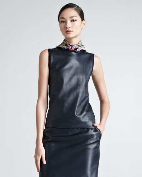 Sleeveless Leather-Front Cashmere Sweater