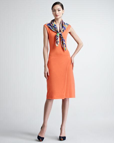 Cap-Sleeve Dropped-Waist Cashmere Dress