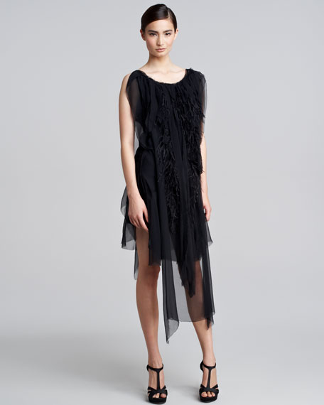 Feather-Chiffon Dress