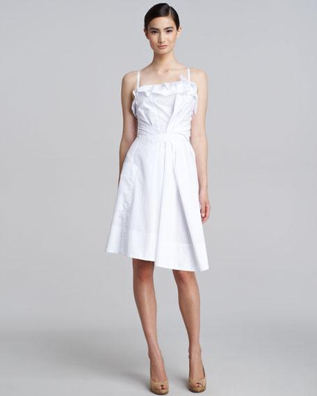 Ruffled Asymmetric Poplin Dress