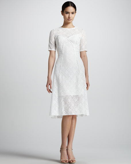 Short-Sleeve Lace A-Line Dress