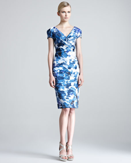 Brushstroke-Print Sheath Dress