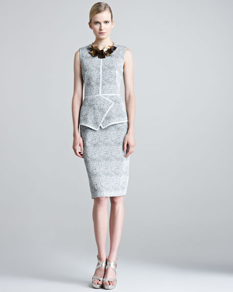 Etched Jacquard Sheath Dress