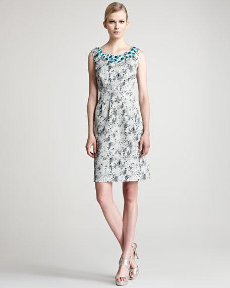 Embroidered Jacquard Sheath Dress