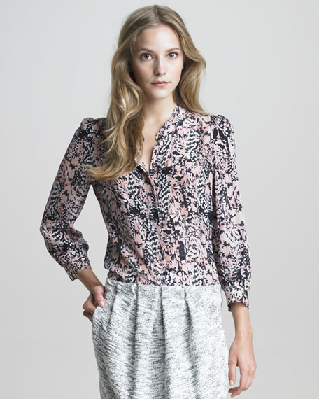Printed Silk Button-Front Shirt