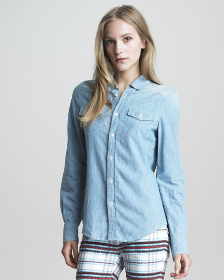 Button-Up Denim Blouse