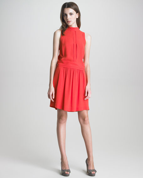 Mock-Neck Drop-Waist Dress