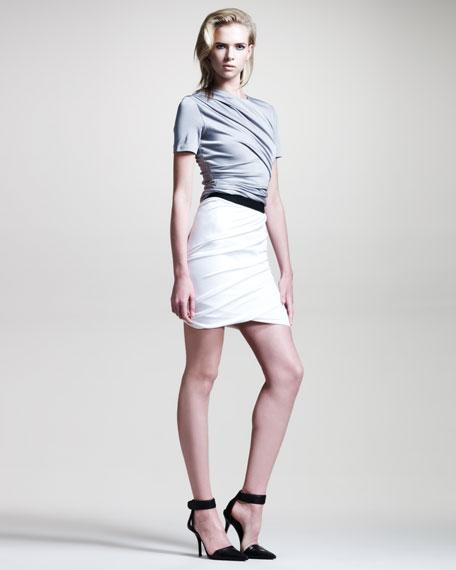 Draped Shiny Jersey Skirt