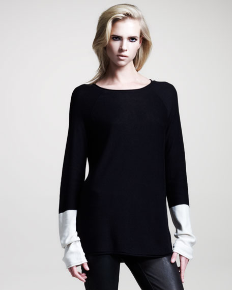 Colorblock Long-Sleeve Pullover, Black/Bone