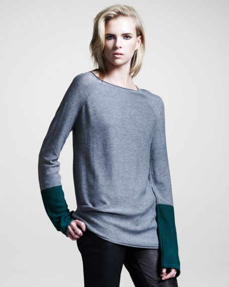 Colorblock Long-Sleeve Pullover, Heather Gray