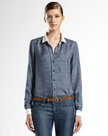 Icon Horsebit-Print Silk 70s Shirt