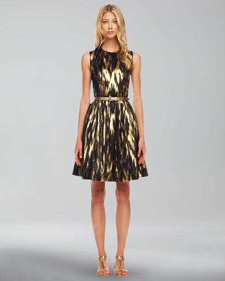 Ikat-Print A-Line Dress