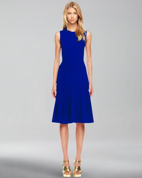 Wool-Crepe Flared Dress