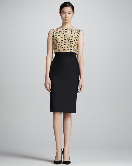 Silk Shantung Pencil Skirt