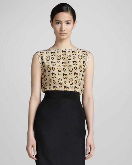 Leopard-Print Sleeveless Silk Shell