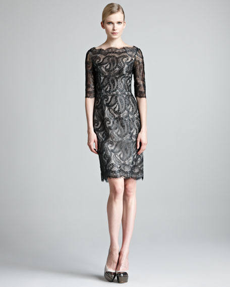 Lacquered Paisley Lace Dress