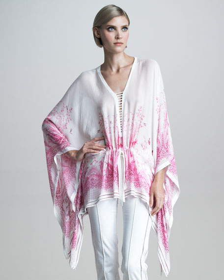 Knit-Trimmed Caftan