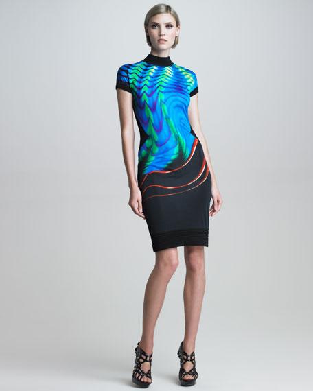 Printed Mock-Neck Open-Back Dress