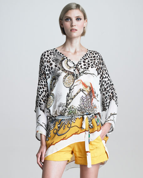 New Longer Mixed-Print Caftan