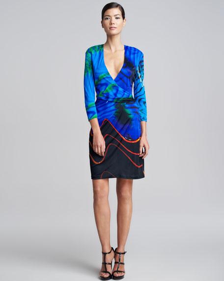 Faux-Wrap Print Dress