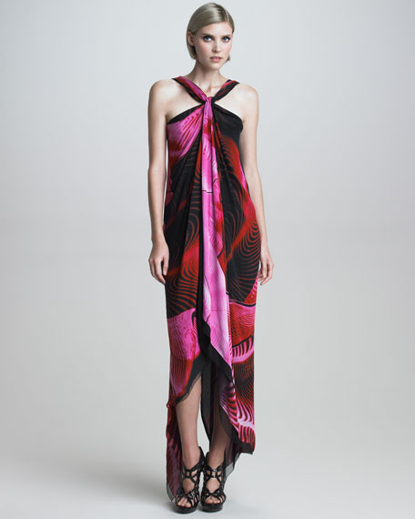Asymmetric Printed Halter Maxi Dress