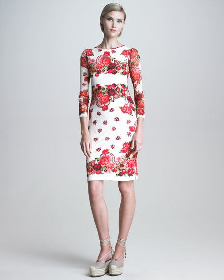 Printed Three-Quarter-Sleeve Sheath Dress