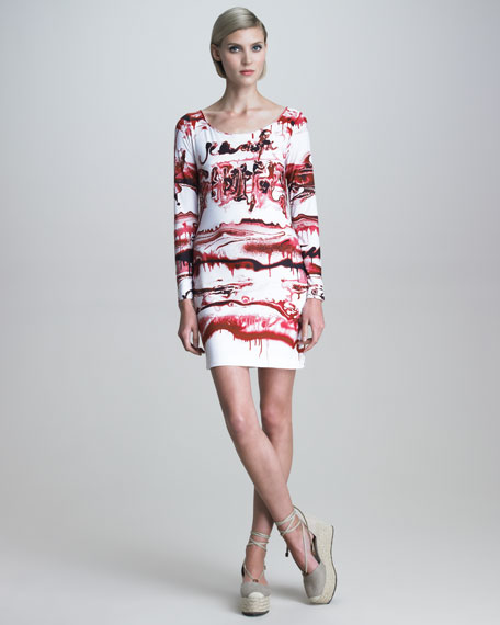 Long-Sleeve Graffiti-Print Dress
