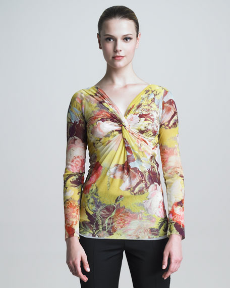 Long-Sleeve Knotted Floral-Print Shirt