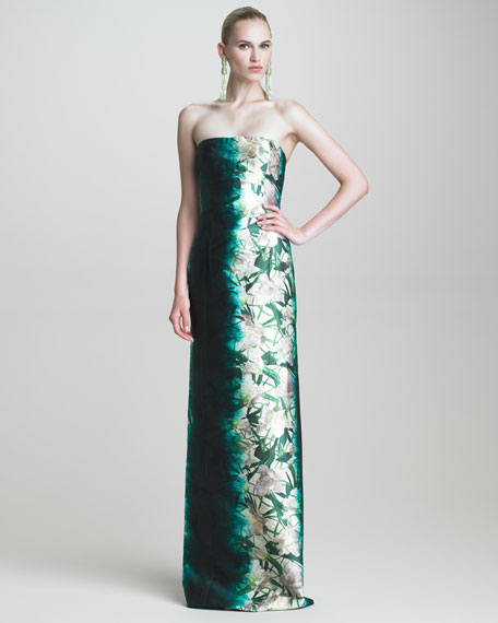 Floral-Print Strapless Gown