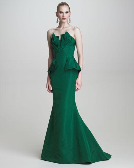 Oscar de la Renta Faille Strapless Gown