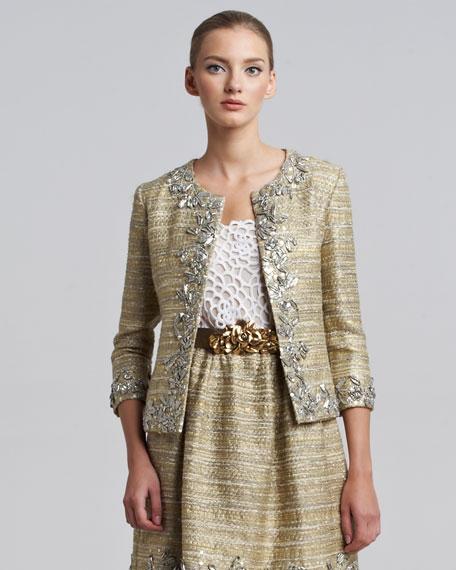 Metallic Tweed Embellished Jacket