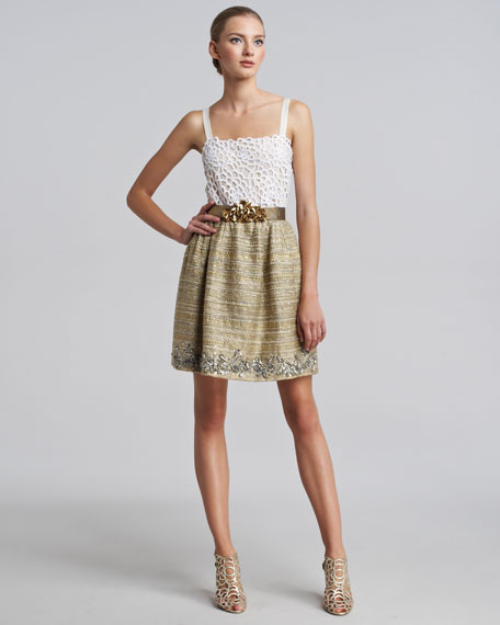 Metallic Tweed Embellished Skirt