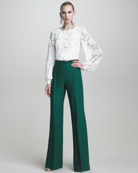 Twill High-Waisted Pants