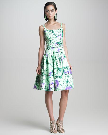 Floral-Print Flounce Dress